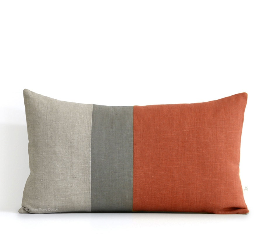 Sienna Lumbar Pillow 12x20 Mod Autumn Colorblock Pillow