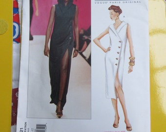 Yves Saint Laurent Vogue Designer Sewing Pattern Sizes  8 10 12 Sheath Summer Dress Maxi Side Buttons Sleeveless Hood Uncut Factory Folds