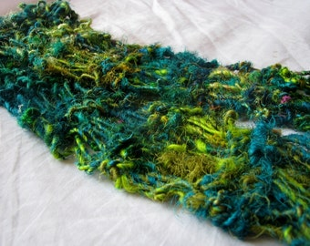 Green Bejewelled Recycled Sari Silk Short Scarf