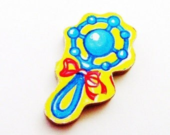 Baby Rattle Brooch - Pin / Blue, Red & Yellow Wood Brooch / Upcycled 1960s Wood Puzzle Piece / New Mom Gift Under 20