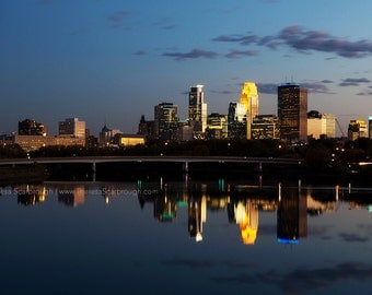 Minneapolis Skyline Dusk, landscape photography, wall art decor, Available in color or Black and White.