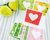 Mini Heart Cards Bright Collection Set of 9