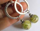 green dangle earrings,  Silver and green drop earrings, gypsy jewelry