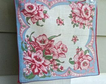 Vintage flowered handkerchief, daffodils in shades of blue and red, great vintage hankie, vintage linens, cotton hankie, ladies handkerchief