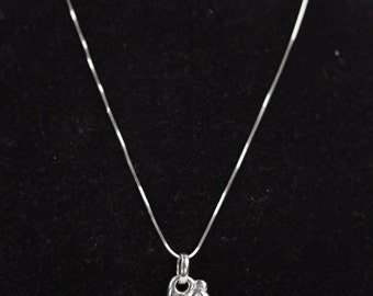 RAFFA Italian 18 Kt White Gold 750 NECKLACE w/ Teddy Bear Pendant