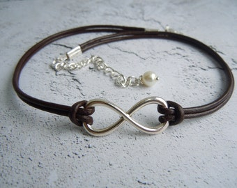 Infinity Necklace Choker Brown Leather Infinity Jewelry Gifts For Girls Sister Friend BFF Mother Easter Gifts Mother's Day Minimalist