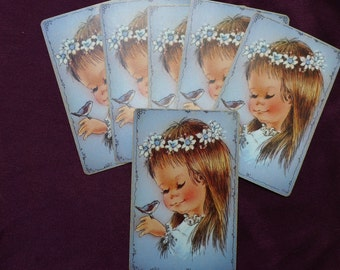 Vintage Little Girl and Bluebird Playing Cards