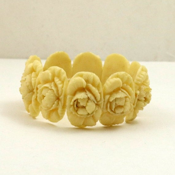 Art Deco Carved Floral Celluloid Bracelet, Signed Japan