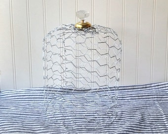 Chicken wire cloche with glass knob finial Cottage Chic French Country Industrial N1