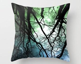 Moonlight Forest Throw Pillow, Starry Night Pillow, 16x16, 18x18, 20x20, Trees Pillow Case, Woods Pillow Case, Night Sky,Woodland,Moon,Stars