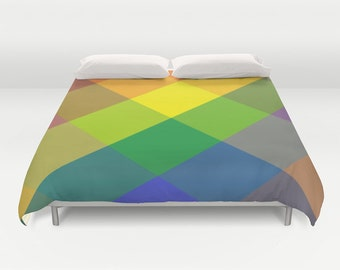 Color Block Duvet Cover, Made to Order, Colorblock Bedding, Multicolored Decorative Bedding, Contemporary Bedding,Dorm Bedding, Trend, Vivid