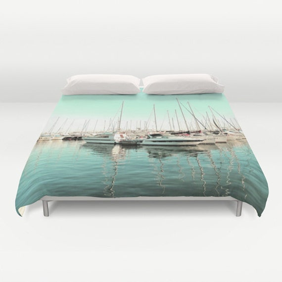 Marina Duvet Cover, Mint Bedding, Boat Decorative bedding, modern, Nautical comforter cover, Happy, Dorm, Beach, Surf, Water, Yacht, Ocean