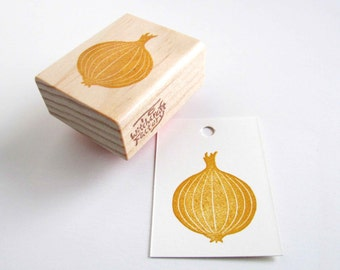 Onion Stamp, Hand Carved Vegetable Stamp