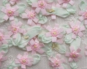 18 pc Delicate Pink Handmade Baby Doll french knot ribbon bow flowers
