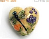 ON SALE 45% OFF Green Dragonfly w/Orange Flora Heart -11816805-Handmade Glass Lampwork Bead