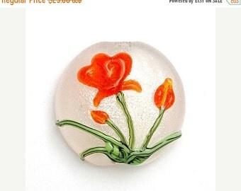 ON SALE 50% OFF Glass Lampwork Bead - Vermilion Flower Lentil Focal Bead 11832202
