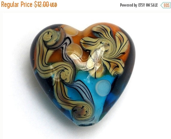 ON SALE 50% OFF Light Brown w/Blue Free Style Heart Focal Bead - Handmade Glass Lampwork Bead 11806305