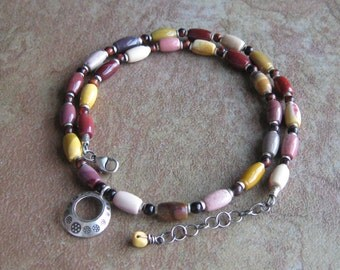 Mookaite Jasper and Red Tigereye Necklace-Hill Tribes Silver Pendant-Sterling Silver-Adjustable