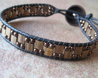 Bronze Black Leather Bracelet-Czech Glass-Woven Bracelet-Tila Beads-Button Closure-Unisex-Single Wrap-Beaded Wrap Bracelet