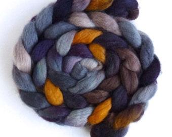 Corriedale Wool Roving - Hand Painted Spinning or Felting Fiber, Light in the Dark
