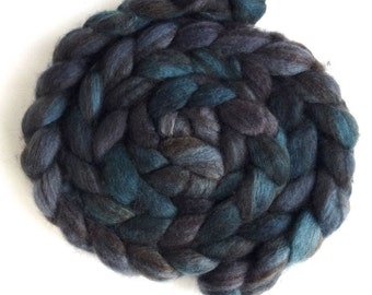 Pre -Order Colorway, Mixed BFL Wool Roving, Hand Painted Spinning or Felting Fiber, 4 ounces, Darkness