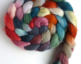 Merino/ Silk Roving (Top) - Handpainted Spinning or Felting Fiber, Flick of the Tail