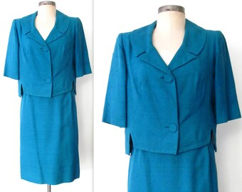 1960s Skirt Suit / 60s Skirt Suit / Turquoise Skirt Suit M/L