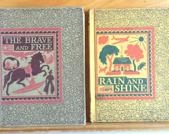 Vintage Readers Primer Lot from 1940s  - Rain and Shine - The Brave and the Free