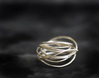 Sound Wave Ring, Architectural Art Jewelry, Wide Sterling Silver