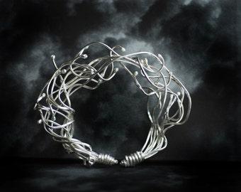 Architectural Art Jewelry, Conceptual Cuff Bracelet, Urban Sterling Silver