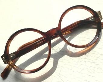 Petite French Round Rhinestone Eyeglass Frames France Tortoise Vintage 1960's Small Adult sized face Indie Hipster Eyewear Grunge Girl