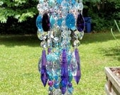 Aqua and Purple Antique Crystal Wind Chime, Bohemian Gypsy Crystal Wind Chime, Garden Decoration, Window Decoration