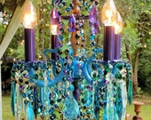 Vintage Petite Crystal Chandelier, Peacock Crystal Chandelier, Bohemian Chandelier, Home Decor,