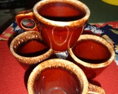 Charming 4 vintage Brown Drip  Hull Pottery USA Cups Mugs Collection Kitchenalia Lot