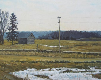 Brown Fields and Old Snow, original plein air oil painting