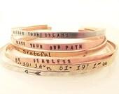SET OF 6 Skinny Cuff Bracelet - Handstamped Bracelet - Inspirational Jewelry - Stacking bracelets - Coordinate Jewelry - Arrow Bracelet