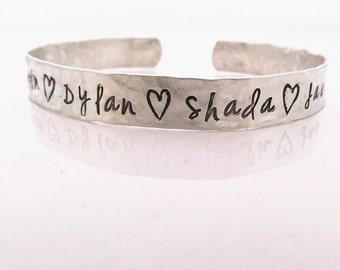 Personalized Cuff Bracelet -  hand stamped sterling silver cuff bracelet - Mother's Bracelet - Hand stamped bracelet