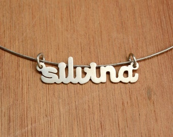 Name Necklace - Pendant -Sterling Silver - Personalized Pendant -Word