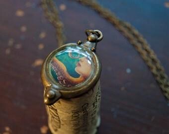 LIMITED Octopus Pendant - Mini Octopus art pendant, squid necklace charm, wearable art, bronze finish, bridesmaids gifts