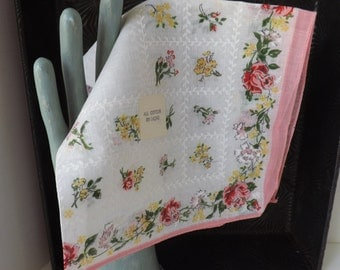 Vintage unused pink and yellow floral rose hanky handkerchief new with tag cotton