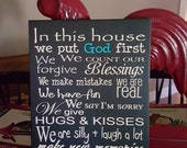 In This House We Do Put God 1st Sign Subway Art Sign Collage typography Words