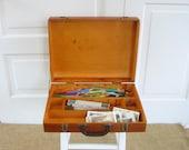 Vintage Artist Case, Art Wood Box, Supply Storage, Divided Box, Art Case