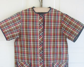 Vintage Plaid Dress Girl Woman Red Navy Blue Small Extra Small