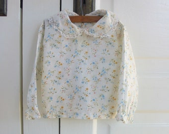 Vintage Girl Baby Shirt, Peter Pan Collar Shirt, Long Sleeve Shirt 12 months, Floral Baby Shirt