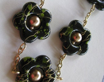 Green and Black Flower Necklace, Green, Gold and Black Necklace, Avocado Green and Black Necklace