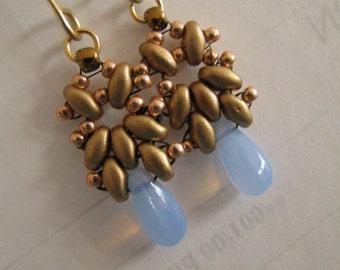 Opalite Earrings, Opalite Blue Superduo Earrings, Blue and Gold Superduo Earrings
