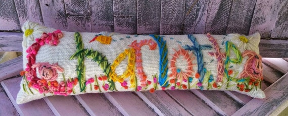 Freehand Embroidered Bohemian Letters Name Pillow Custom Made NINE  LETTERS