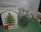 Vintage Spode Christmas Tree 2.5 Qt  Glass Pitcher