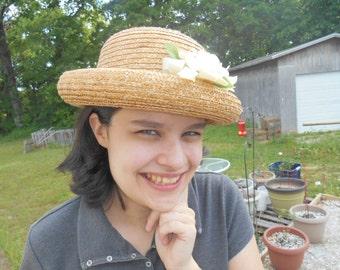 Vintage Round Straw Hat for Older Girls or Ladies