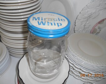 Vintage Glass and Metal Jar of Miracle Whip Marked 46 cents